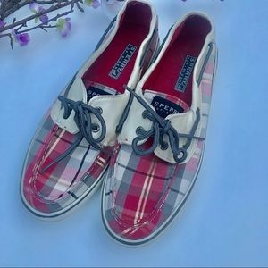 Red plaid Sperry Top Siders size 8